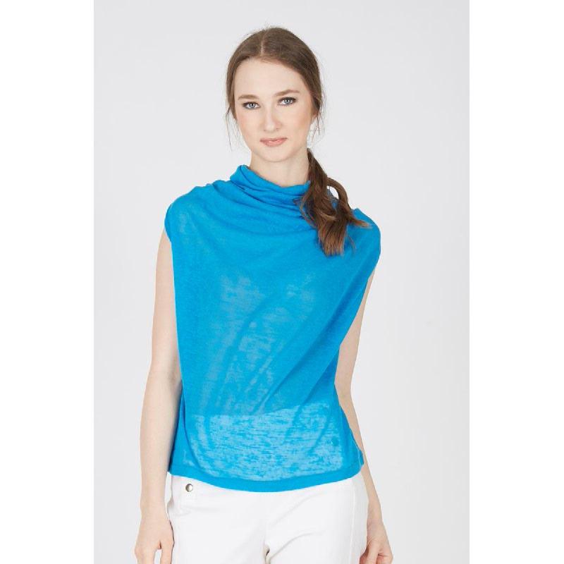 Heldra Blue Neck Drape Top