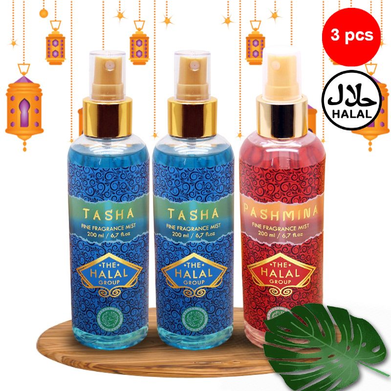 The Halal Group Fine Fragrance Mist Tasha 200ml (2pcs)  + Pashmina 200ml (1pc)