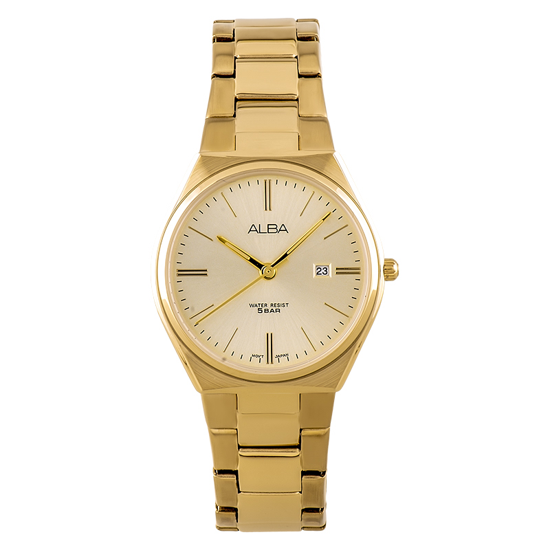 Alba AH7S22X1 Ladies Champagne Dial Gold Stainless Steel Strap
