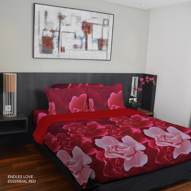 King Rabbit Bed Cover Single Motif Endless Love - Merah