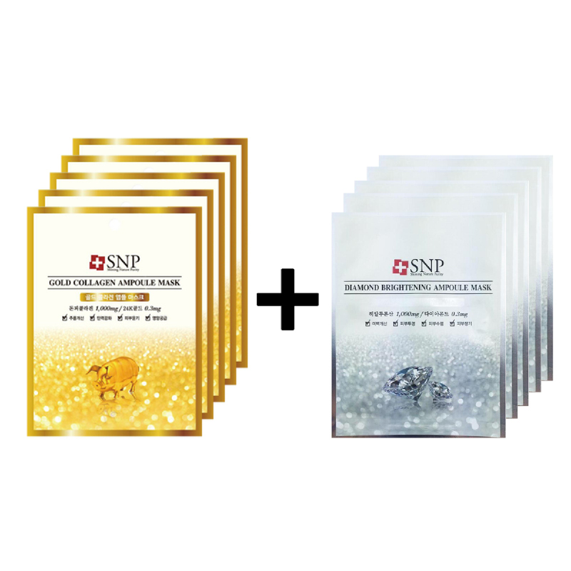Snp Gold Collagen Ampoul Mask 5Pcs + Snp Diamond Brightening Ampoul Mask 5Pcs