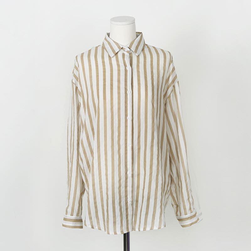 Free Loose Stripe Shirt BEIGE