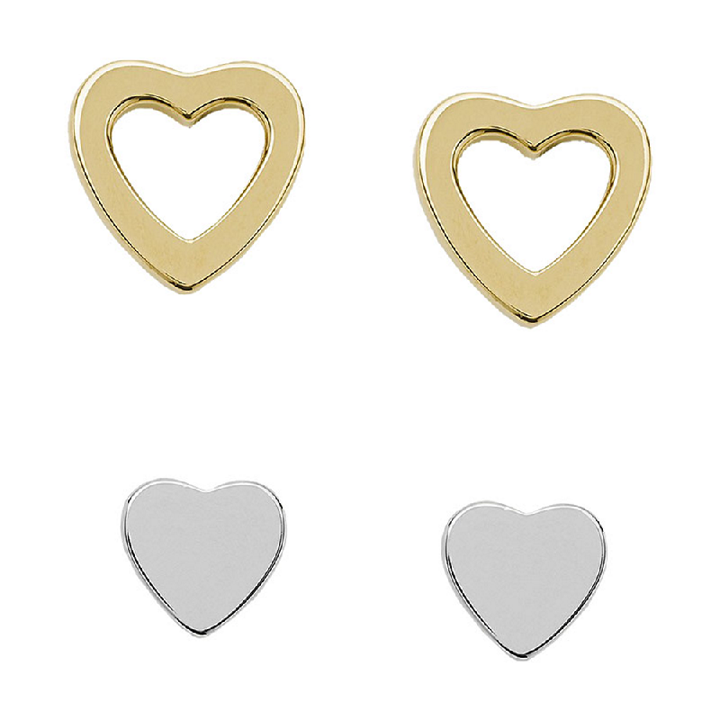 Anting Fossil Anting Sterling JFS00454998 Duo Heart Silver Box Set Gold