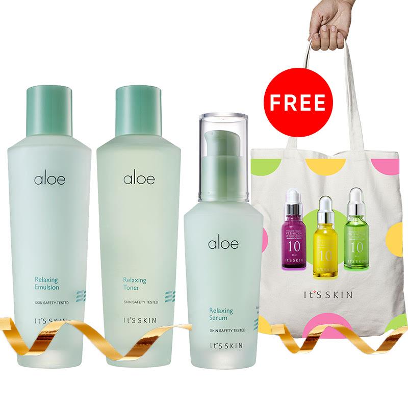 It's Skin Aloe Relaxing Serum + It's Skin Aloe Relaxing Toner + It's Skin Aloe Relaxing Emulsion Free Tote Bag It's Skin