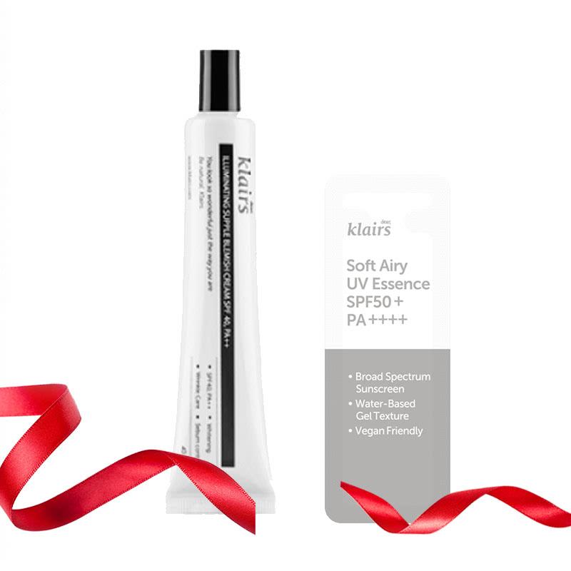 Klairs Daily Acne Prone Set (illuminating Supple Blemish Cream + Soft Airy UV Essence sachet 3ml)