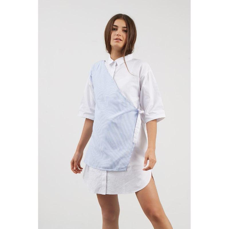 Peny Layer Shirt Dress White