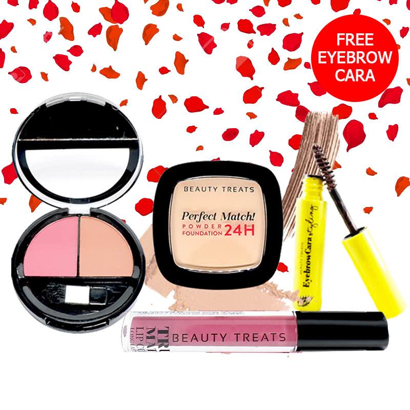 Beauty Treats Make Up Set A (Perfect Match Powder Foundation 24H No. 2 + True Matte Lip Color No. 10 + Duo Blush No. 2) FREE Eyebrowcara Dark Brown