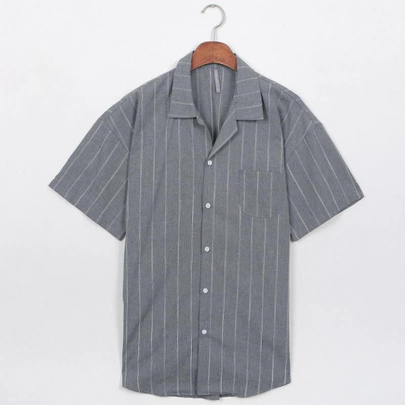 Lower Stripe Short Sleeve Shirt Gray