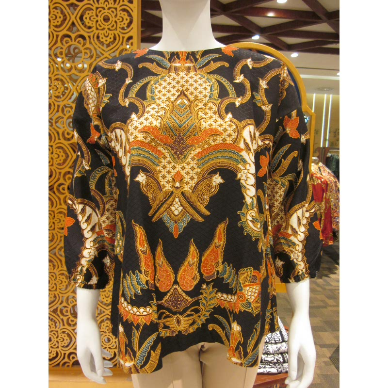 Batik Semar Zort Blouse Doby Kawung Kinurung 20 Black (Size 3L)