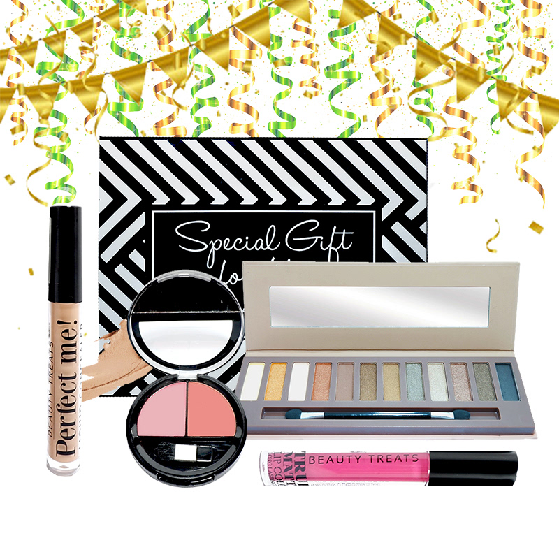 Beauty Hampers (Naked Eyeshadow Set 1 + Duo Blush No 2 + True Matte Lip Color No 4 + Perfect Me Liquid Concealer)
