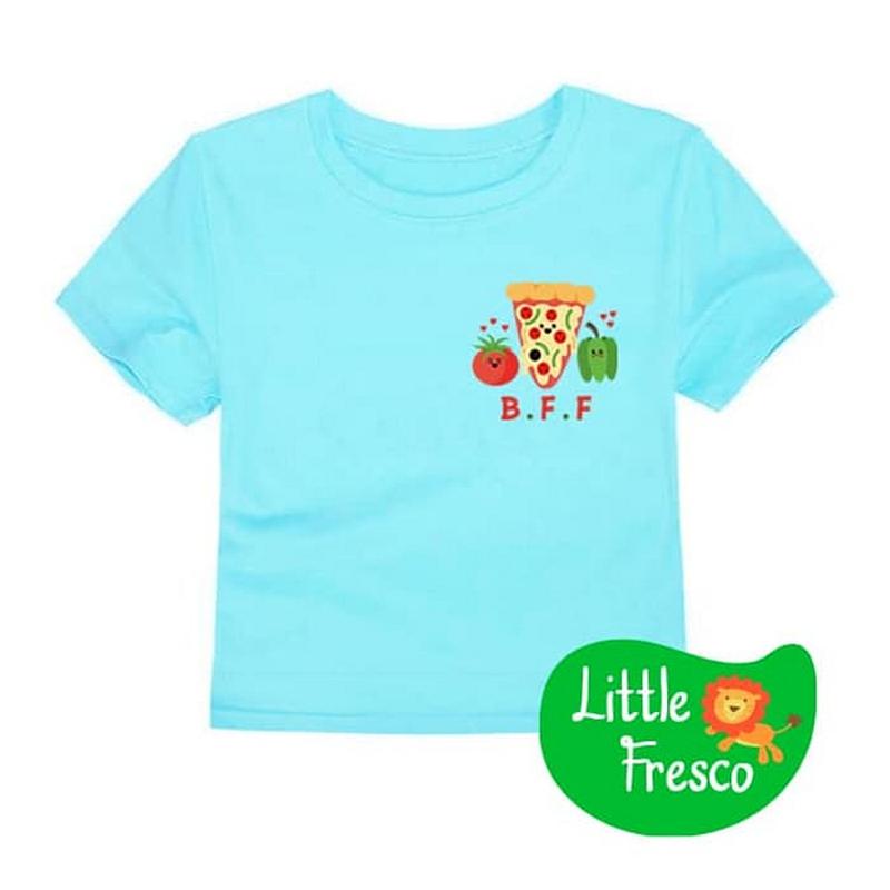 Little Fresco - Kaos Anak BFF Pizza Biru Muda