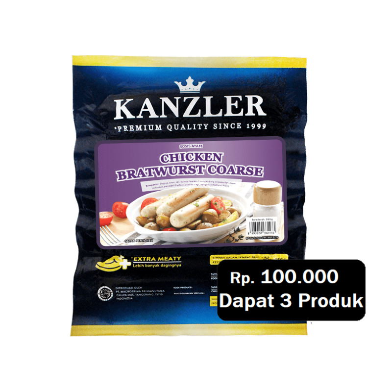 Kanzler Chicken Bratwurst 400G (Rp. 100.000 Dapat 3)