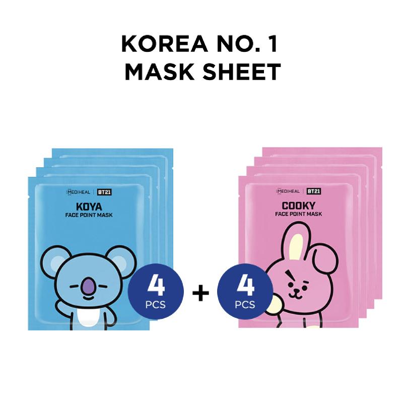 Mediheal BT21 Face Point Mask - Koya (4pcs) + Cooky (4pcs)