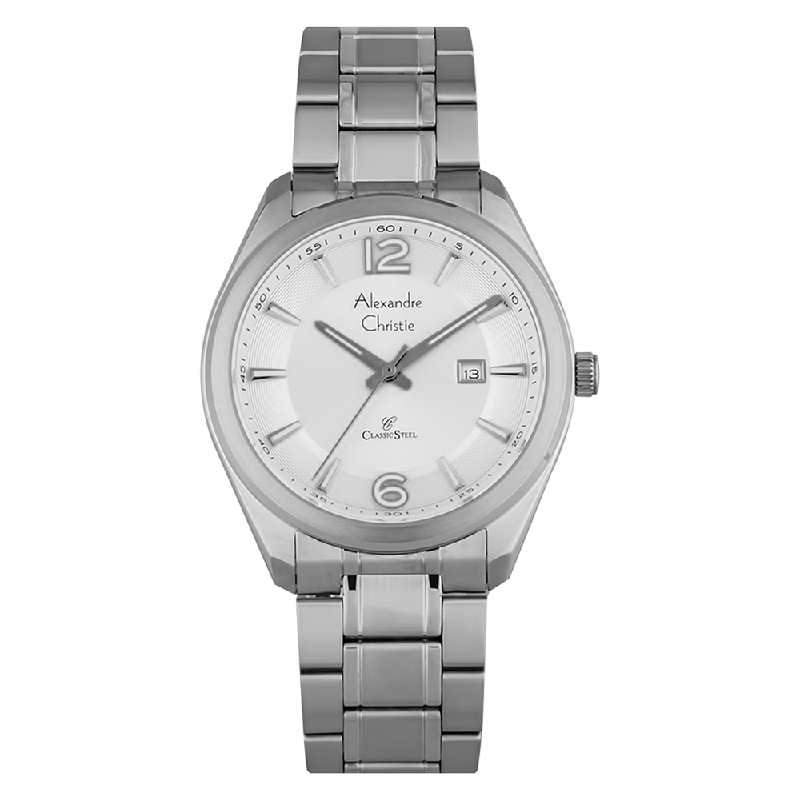 Alexandre Christie AC 8583 MD BSSSL Classic Steel Man White Dial Stainless Steel