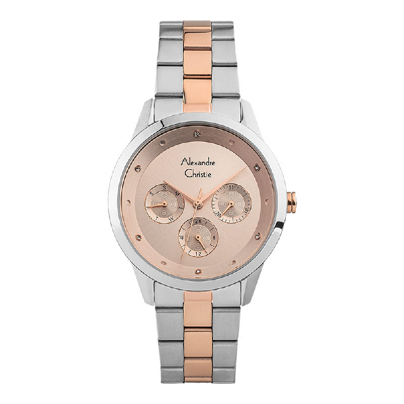 Alexandre Christie AC 2882 BF BTRSL Ladies Rose Gold Dial Dual Tone Stainless Steel Strap