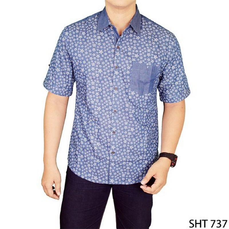 Gudang Fashion Casual Slimfit Shirts Biru SHT 737