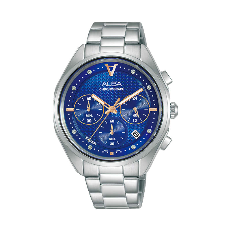 Alba AT3G91X1 Men Blue Patterned Dial Stainless Steel Strap