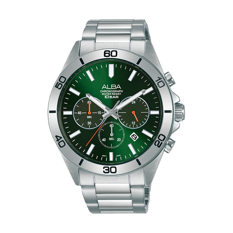 Alba Active AT3H21X1 Chronograph Men Green Dial Stainless Steel Strap