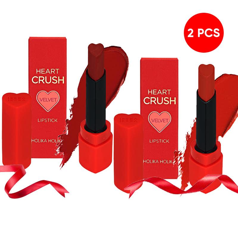 Holika Holika Heart Crush Lipstick Comfort Velvet RD01 Bite Me + RD02 Spicy