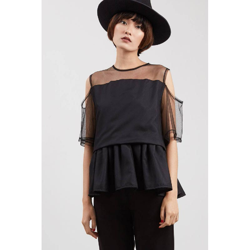 Tiss Drape Top Black