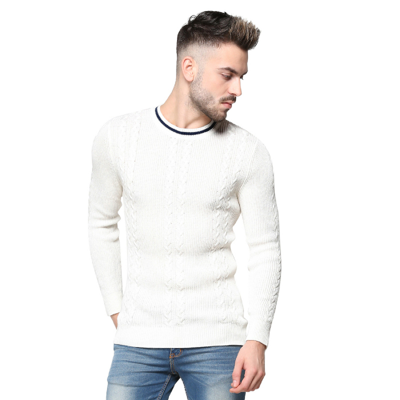 Knitwork Off White Double Cable Sweater KKM-16B