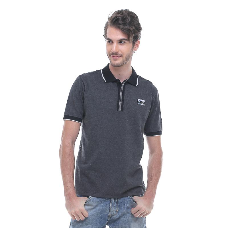 Slim Fit - Kaos Polo - Garis Tepi Putih - Abu