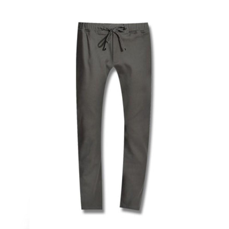 Stone Washing Banding Cotton Pants - Charcoal