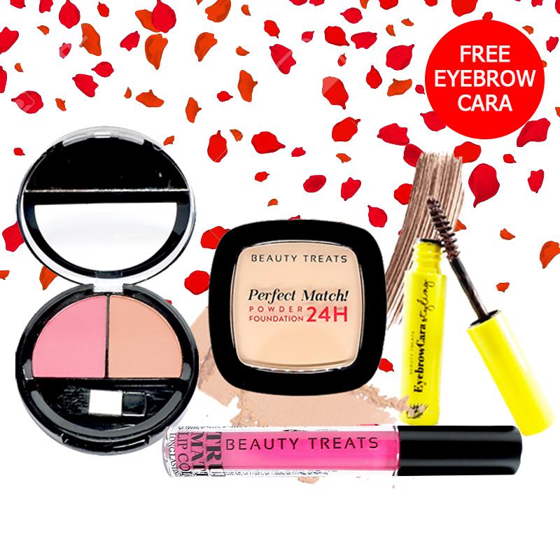 Beauty Treats Make Up Set A (Perfect Match Powder Foundation 24H No. 2 + True Matte Lip Color No. 5 + Duo Blush No. 2) FREE Eyebrowcara Dark Brown