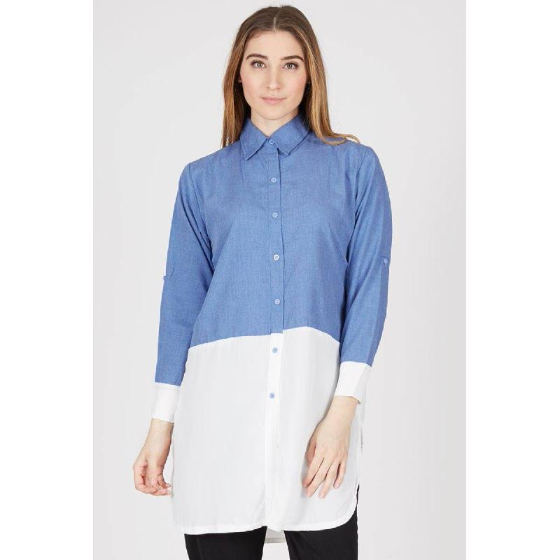 PA Short Sleeve Two Tone Shirt Dark Blue