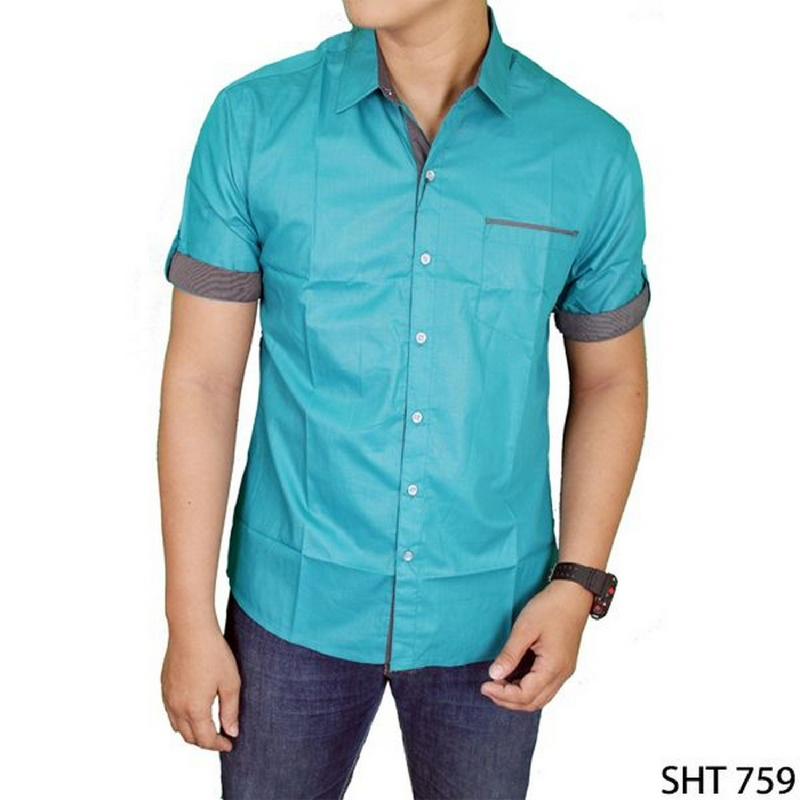 Gudang Fashion Mens Slim Casual Short Sleeve Shirts Hijau SHT 759