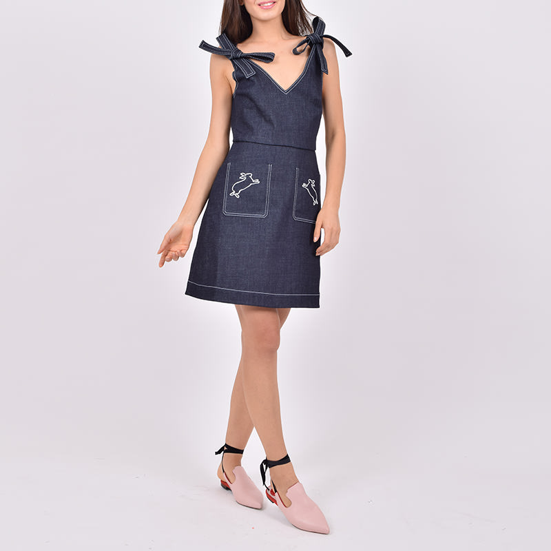 Embroidered denim chloe dress