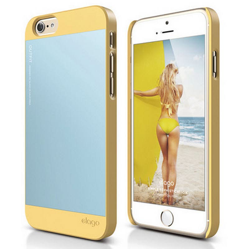 Elago Outfit Case for iPhone 6S Plus - Creamy Yellow + Cotton Candy Blue