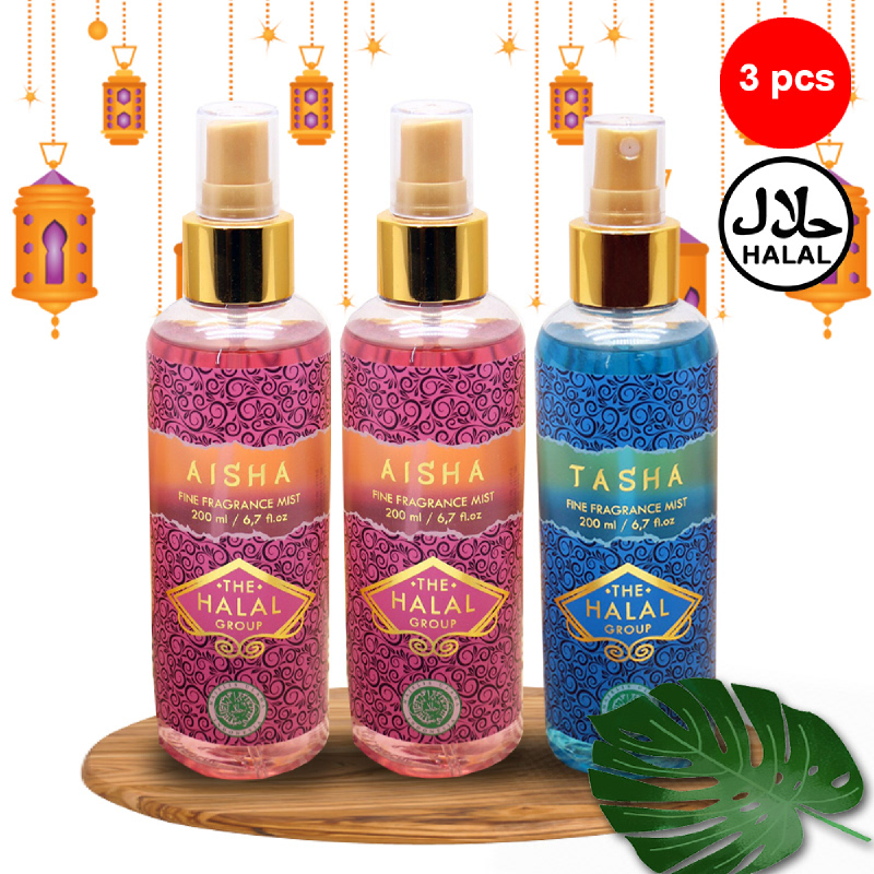 The Halal Group Fine Fragrance Mist Aisha 200ml (2pcs)  + Tasha 200ml (1pc)