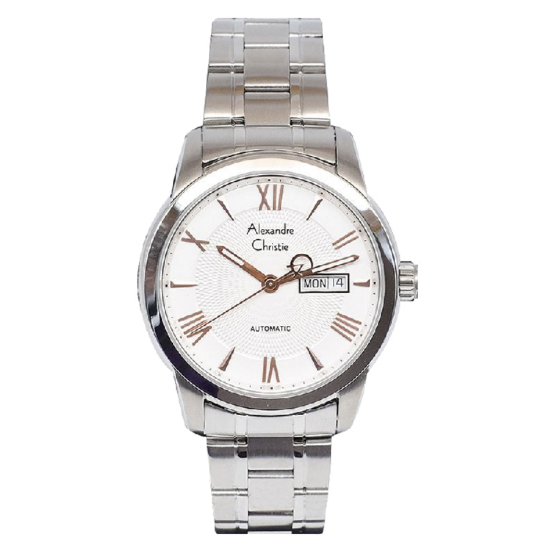 Alexandre Christie AC 3028 MABSSSLRG Jam Tangan Pria Automatic Stainless Steel Silver White