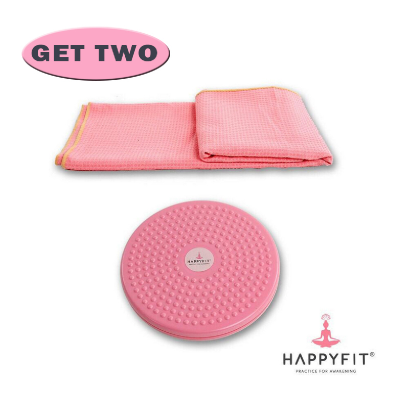HAPPYFIT Figure Trimmer Twister+Yoga Mat Grip Towel (Pink)