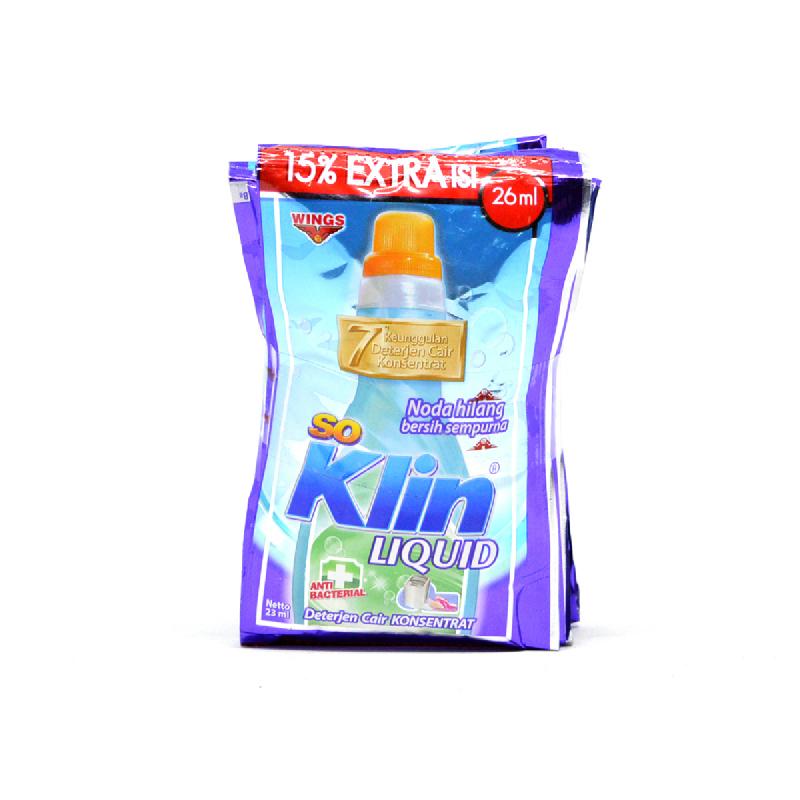 So Klin  Detergent Liquid Antibacterial Pouch [6 X 30Ml]