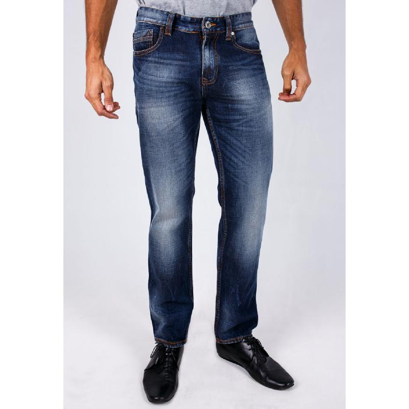 Slim Fit Jeans Dark Blue Aksen Washed Whisker
