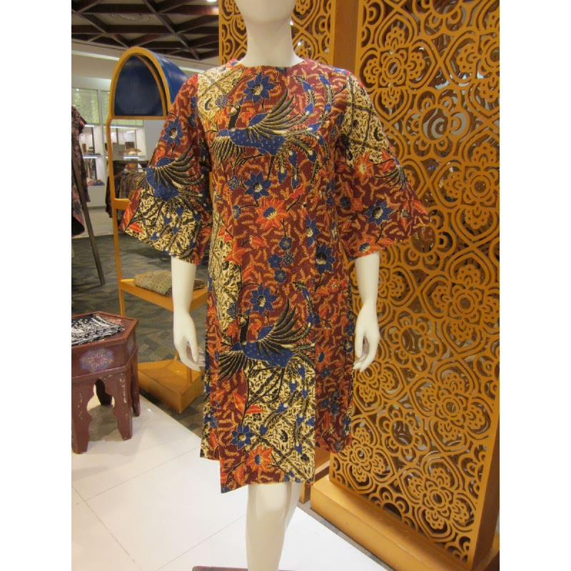 Batik Semar Lemi Dress Doby Merak Isen Sinawun 33 Maroon (Size S,M,L)
