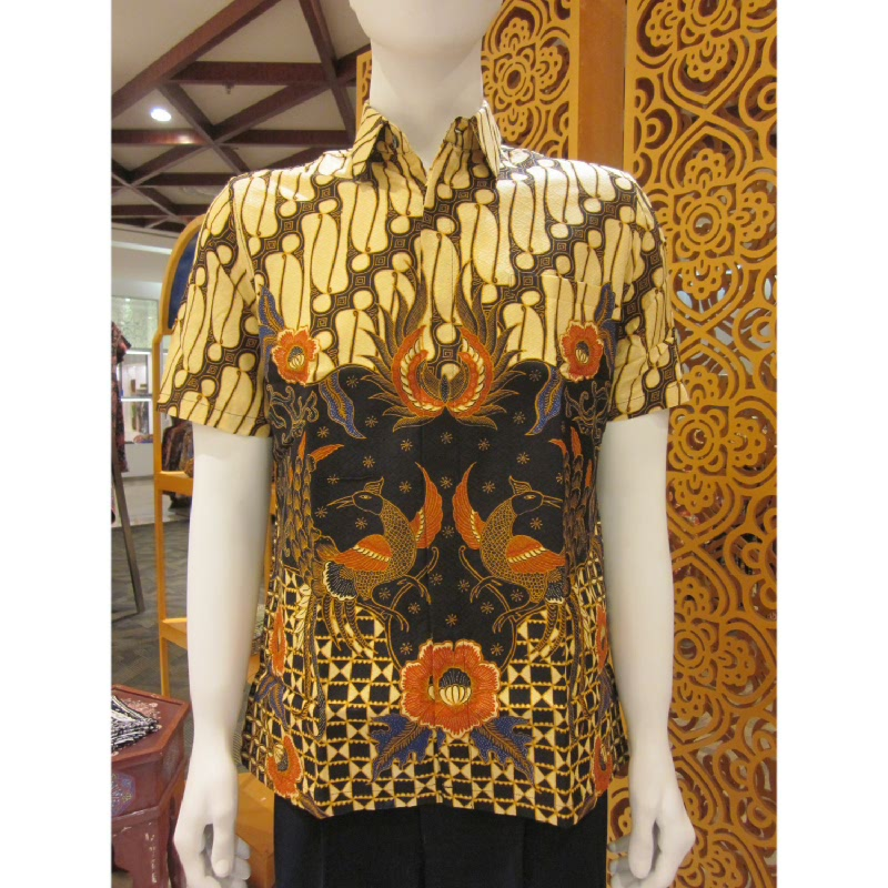 Batik Semar Hem Pendek Full Tricot Buket Setelon 20 Hitam (SML)
