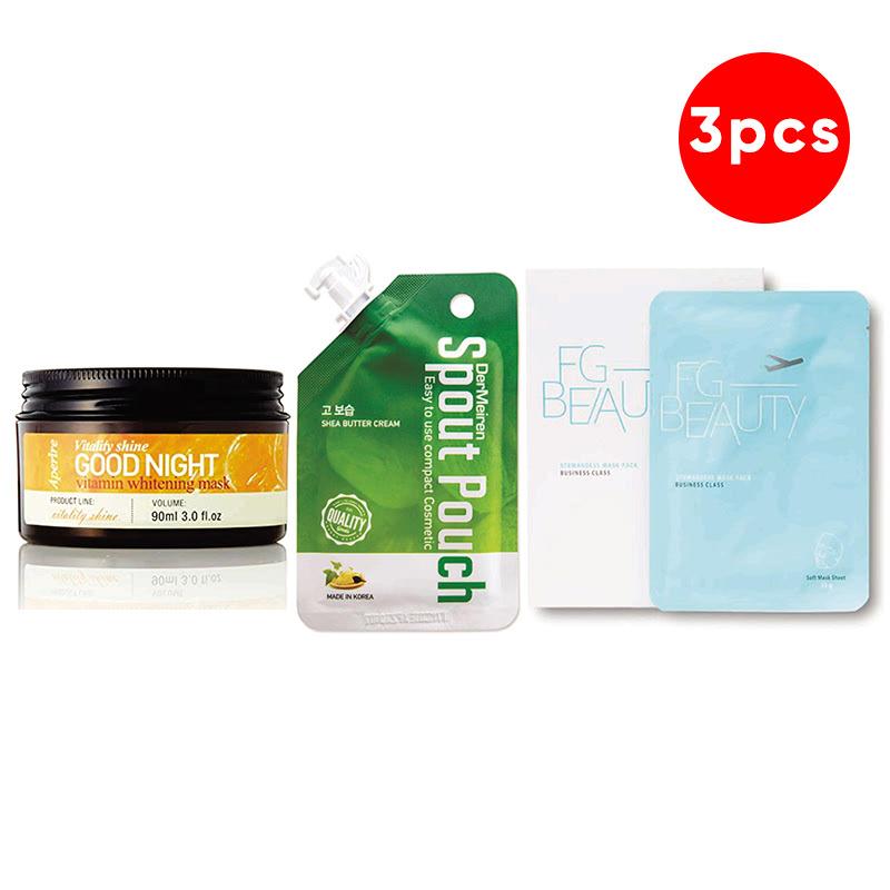 Aperire Vitamin C Whitening Sleeping Pack 90 G + Dermeiren Shea Butter Ultra Moisture Cream 12 G + FG Beauty Stewardess Mask Sheet 23 G
