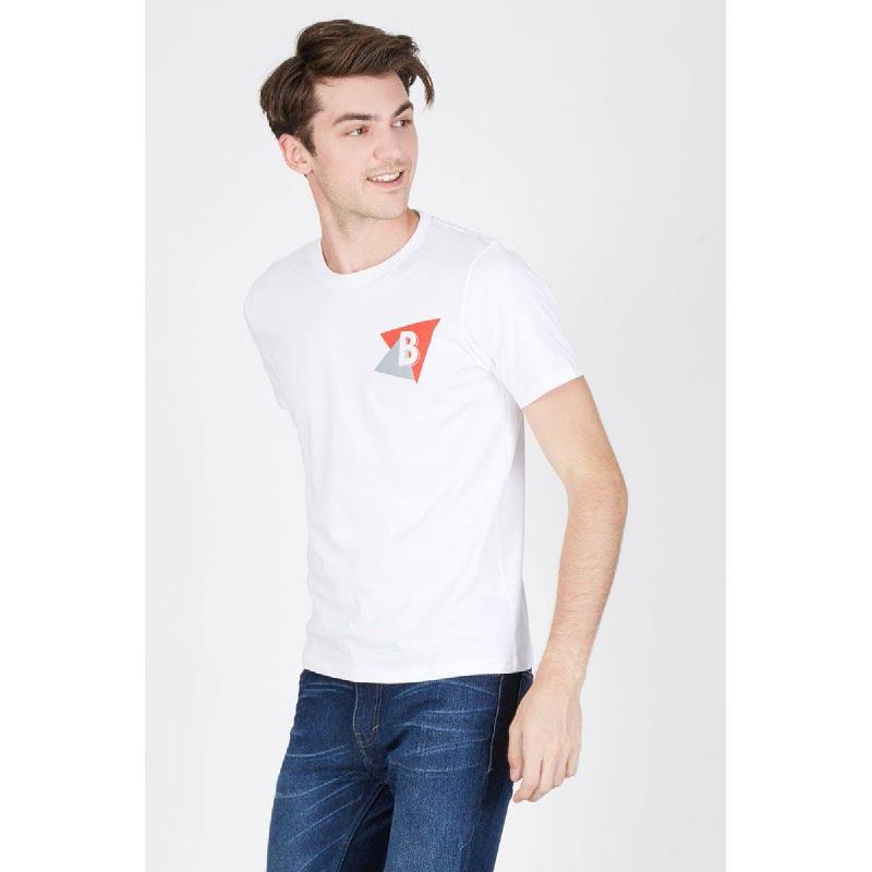 Men Triangle B Tshirt White
