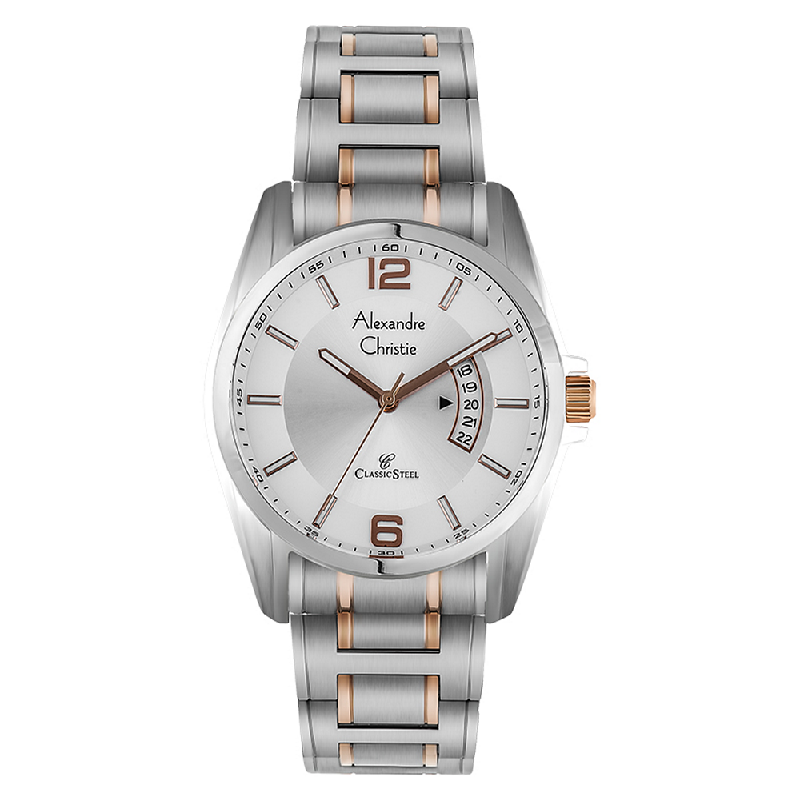 Alexandre Christie AC 8289 MD BTRSL Men Silver Dial Dual Tone Stainless Steel