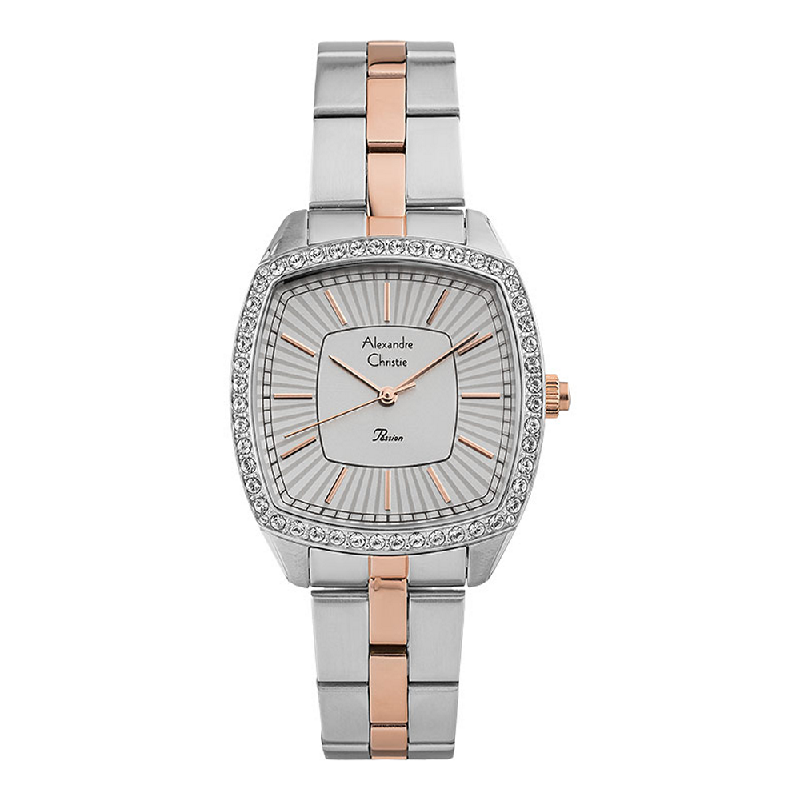 Alexandre Christie Passion AC 2885 LH BTRSL Ladies Silver Dial Dual Tone Stainless Steel Strap