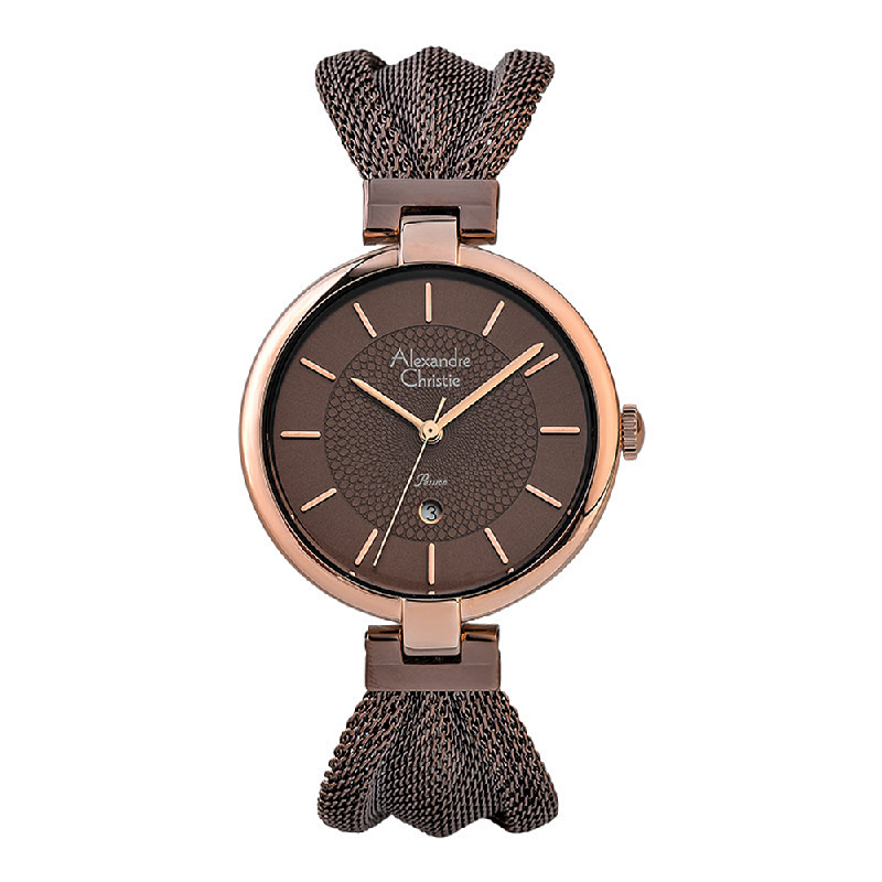 Alexandre Christie Passion AC 2872 LD BROBO Ladies Brown Dial Brown Stainless Steel Strap