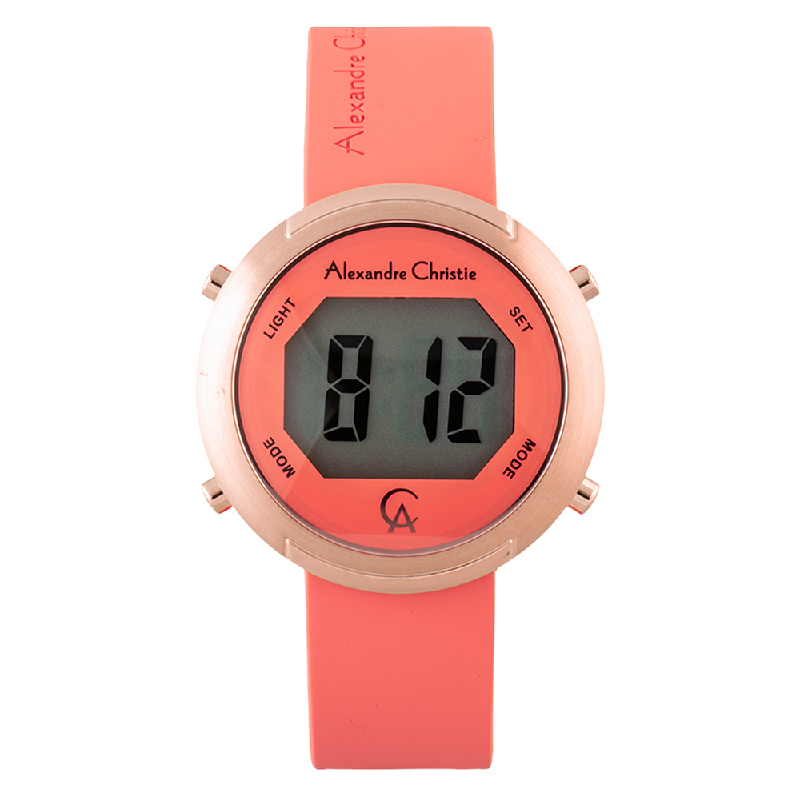 Alexandre Christie AC 9337 LH RRGPE Ladies Digital Dial Peach Rubber Strap