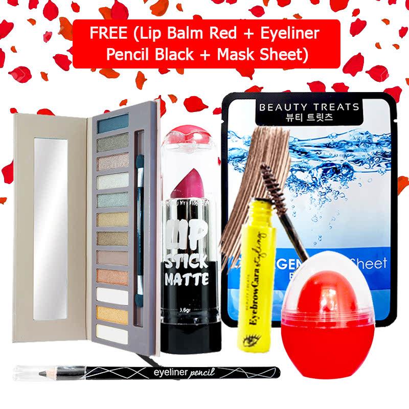Beauty Treats Make Up Set B (Naked Eyeshadow No. 1 + Lipstick No. 3 + Eyebrowcara Dark Brown) FREE Kiss Me Lip Balm Red + Eyeliner Pencil Black + Mask Sheet Collagen