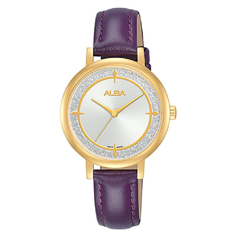 Alba AH8536X1 White Dial Purple Leather Strap