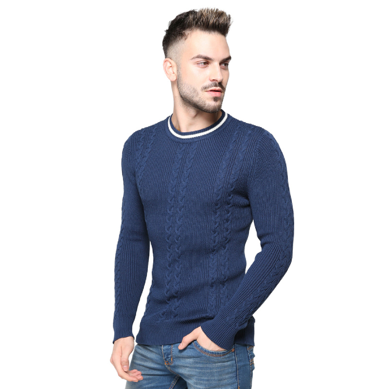 Knitwork Light Navy Double Cable Sweater KKM-16A