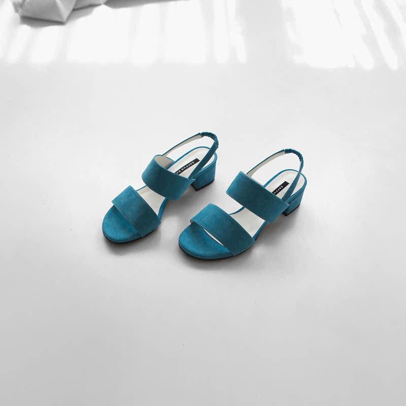 SAPPUN Year-Old's Strap Sandal Heel (5cm) - Blue Suede