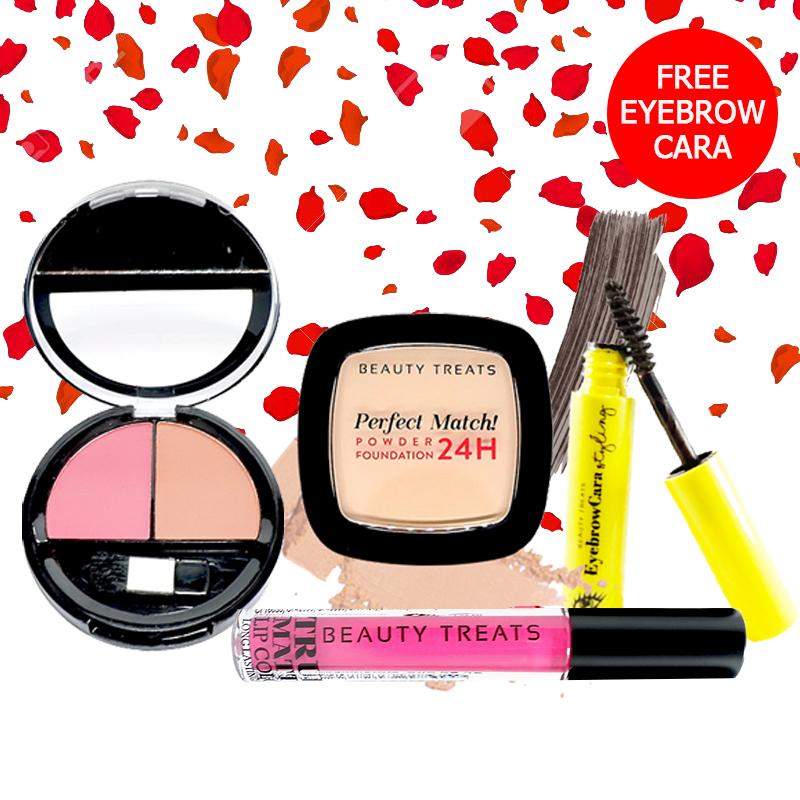 Beauty Treats Make Up Set A (Perfect Match Powder Foundation 24H No. 2 + True Matte Lip Color No. 5 + Duo Blush No. 2) FREE Eyebrowcara Dark Grey Brown
